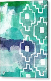 Abstract Aztec- Contemporary Abstract Painting Acrylic Print by Linda Woods