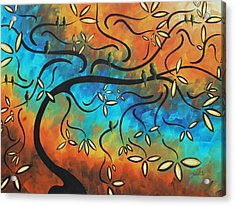 Abstract Bird Painting Original Art Madart Tree House Acrylic Print by Megan Duncanson