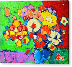 Abstract Colorful Flowers Acrylic Print by Ana Maria Edulescu