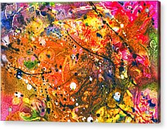 Abstract - Crayon - The Excitement Acrylic Print by Mike Savad