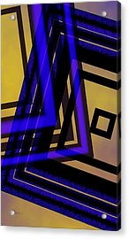 Abstract Design In Blue Black And Yellow Acrylic Print by Mario Perez