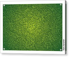 Abstract Doodle Faces Green Acrylic Print by Frank Ramspott