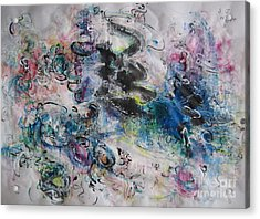 Abstract Flower Field Painting Blue Pink Green Purple Black Landscape Painting Modern Acrylic Pastel Acrylic Print by Seon-Jeong Kim