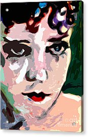 Abstract Gloria Swanson Silent Movie Star Acrylic Print by Ginette Callaway
