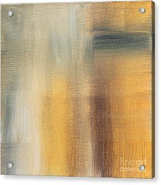 Abstract Golden Yellow Gray Contemporary Trendy Painting Fluid Gold Abstract II By Madart Studios Acrylic Print by Megan Duncanson