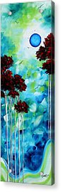 Abstract Landscape Art Original Tree And Moon Painting Blue Moon By Madart Acrylic Print by Megan Duncanson