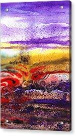 Abstract Landscape Purple Sunrise Earthy Swirl Acrylic Print by Irina Sztukowski