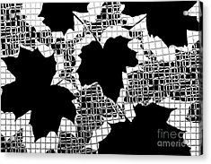 Abstract Leaf Pattern - Black White Grey Acrylic Print by Natalie Kinnear