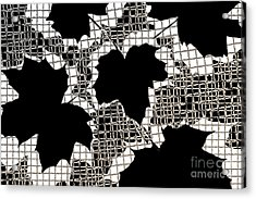Abstract Leaf Pattern - Black White Sepia Acrylic Print by Natalie Kinnear
