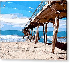 Abstract Ocean Pier Acrylic Print by Phil Perkins