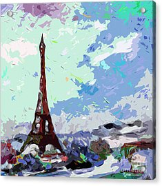 Abstract Paris Memories In Blue Acrylic Print by Ginette Callaway