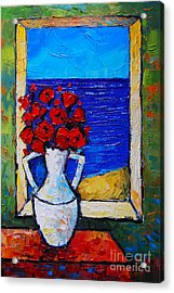 Abstract Poppies By The Sea Acrylic Print by Mona Edulesco