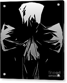 Abstract Skull Or Face Design Gray On Black Acrylic Print by Minding My Visions by Adri and Ray