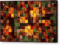 Abstract Squares Triptych Gentle Brown Acrylic Print by Irina Sztukowski