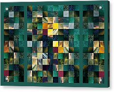 Abstract Squares Triptych Gentle Green Acrylic Print by Irina Sztukowski