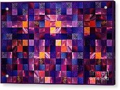 Abstract Squares Triptych Gentle Purple Acrylic Print by Irina Sztukowski