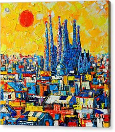 Abstract Sunset Over Sagrada Familia In Barcelona Acrylic Print by Ana Maria Edulescu