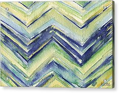 Abstract Watercolor Painting - Blue Yellow Green Chevron Pattern Acrylic Print by Beverly Brown Prints