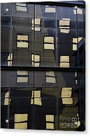 Abstract Window Reflections - Nyc Acrylic Print by David Gordon