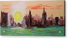 Abstracted Ny Skyline Acrylic Print by Rich Mason