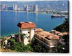Acapulco Bay Architecture Acrylic Print by Linda Phelps