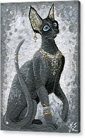 Fanciful Cat Acrylic Print featuring the painting Aceo Black Beauty Bastet by Jennifer  Anne Esposito