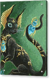 Aceo Scarab Jewel Cat Acrylic Print by Jennifer  Anne Esposito