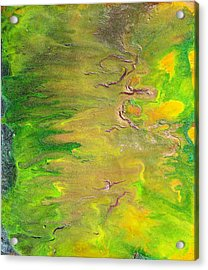 Acid Green Abstract Acrylic Print by Julia Apostolova