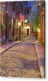 New England Acrylic Print featuring the photograph Acorn Street Of Beacon Hill by Juergen Roth