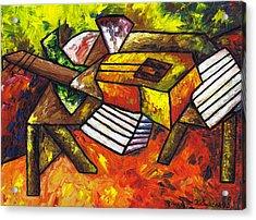 Acoustic Guitar On Artist's Table Acrylic Print by Kamil Swiatek