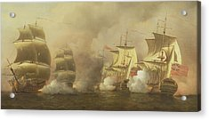 Action Off The Cape Of Good Hope Acrylic Print by Samuel Scott