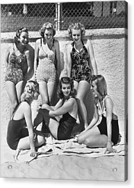 Actresses At Malibu Beach Acrylic Print by Underwood Archives
