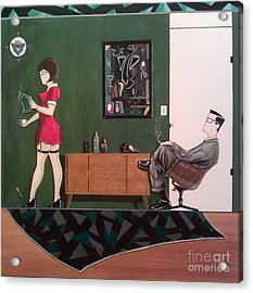 Ad Man Sitting In Chair Steadily Watching Coffee Girl Acrylic Print by John Lyes