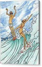 Adam And Eve Acrylic Print by Harry Holiday