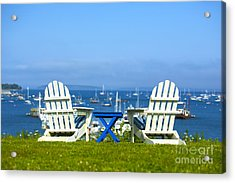 Adirondack Chairs Overlooking The Ocean Acrylic Print by Diane Diederich