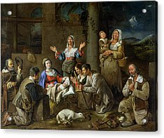 Adoration Of The Shepherds Acrylic Print by Jean Michelin