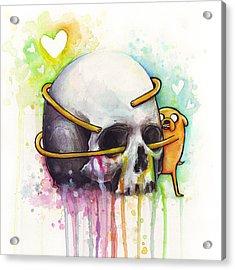 Adventure Time Jake Hugging Skull Watercolor Art Acrylic Print by Olga Shvartsur
