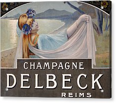 Advertisement For Champagne Delbeck Acrylic Print by Louis Chalon