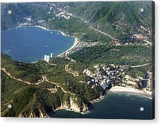 Aerial  Of Acapulco Bay Mexico From Both Sides Acrylic Print by Jodi Jacobson