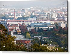 Aerial View Of City And Michelin Tire Acrylic Print by Panoramic Images