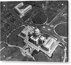 Aerial View Of U.s. Capitol Acrylic Print by Underwood Archives