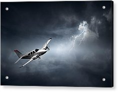 Risk - Aeroplane In Thunderstorm Acrylic Print by Johan Swanepoel