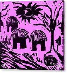 African Huts Pink Acrylic Print by Caroline Street