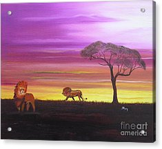 Van Dyke Brown Acrylic Print featuring the painting African Lions by Barbara Hayes