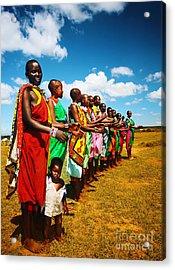 African Men Dancing Acrylic Print by Anna Omelchenko