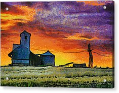After Harvest - Digital Painting Acrylic Print by Mark Kiver
