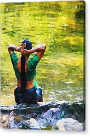 After The River Bathing. Indian Woman. Impressionism Acrylic Print by Jenny Rainbow