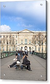 Afternoon On The Pont Des Arts - Parisian Style Acrylic Print by Mark E Tisdale