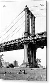 Afternoon Under The Manhattan Bridge - Brooklyn Bridge Park Acrylic Print by Gary Heller