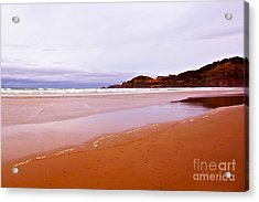Agate Beach Oregon With Yaquina Head Lighthouse Acrylic Print by Artist and Photographer Laura Wrede